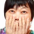 Asian woman use hand cover her mouth — Stok fotoğraf