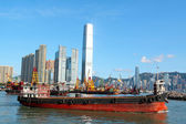 Construction barges in in Victoria Harbor, Hong Kong — Stock Photo