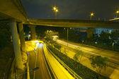 Modern Urban City with Freeway Traffic at Night — Stock Photo