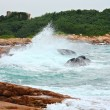 Rocky sea coast and blurred water in shek o,hong kong — Stock Photo #9467434