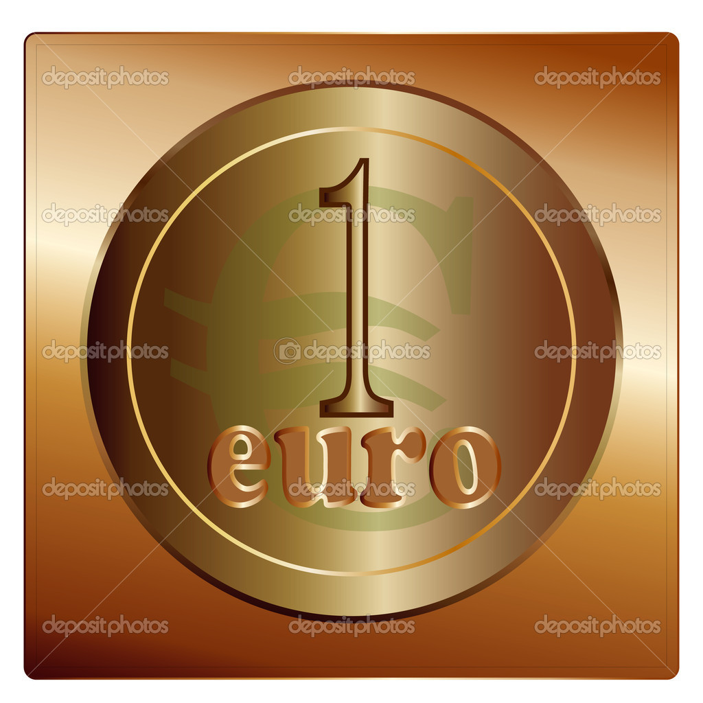 The european union one euro coin, detail vector illustratio — Stock Vector #9910909