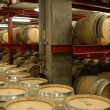 Barrels in wine cellar — Stock Photo
