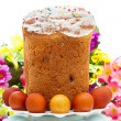 Easter cake and eggs on white — Stock Photo #10122602