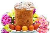 Easter cake and eggs on white — Stock Photo