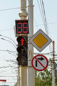 Stoplight - display with a countdown — Stock Photo