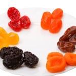 шесть видов сушеных фруктов — Стоковое фото