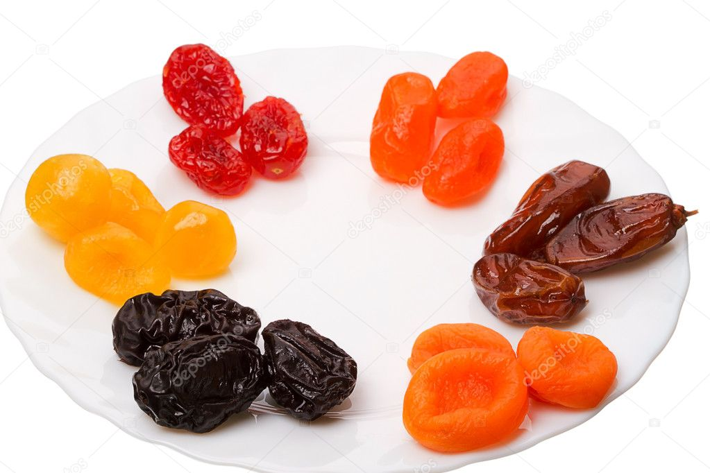 Six kinds of Dried fruit - prunes, apricots, figs, dogwood and date. — Stock Photo #8803483
