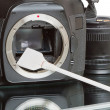 Cleaning the camera sensor — Stock Photo