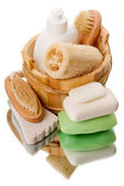 Bath accessories on white — Stock Photo