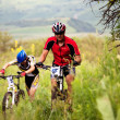 Summer mountain bike competition — Stock Photo