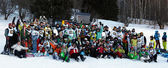 Group photo competitors at Ski and Boarder Cross — Stock Photo