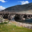 Stock Photo: Old wooden bridge in Mongolia