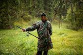 Fiskare i kraftigt regn — Stockfoto