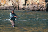 Fly fishing in Mongolia — Stock Photo