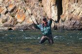 Pesca a mosca in mongolia — Foto Stock