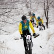 Stock Photo: Winter mountain bike competition
