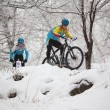 Постер, плакат: Winter mountain bike competition