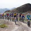 Mountain bike marathon in desert - Stock Photo