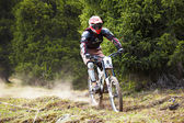 Mountainbiker auf downhill rce — Stockfoto