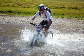 Mountain bike adventure competition — Stock Photo