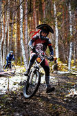 Mountain bike competitions at Halloween — Stock Photo