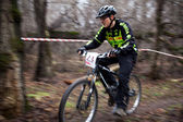 Spring mountain bike competition — Stock Photo
