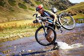 Adventure mountain bike competition — Stock Photo
