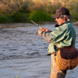 Fly fishing in Mongolia — Foto de stock #9409042