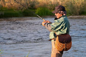 Fly fishing in Mongolia — Foto Stock