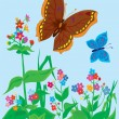 Summer landscape. Butterflies with flowers — Stock Vector #8992203
