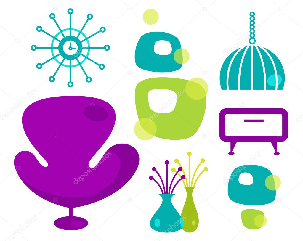 Vector retro furniture collection. — Stock Vector #10340053