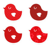 Birds vector set isolated on white ( red ) — 图库矢量图片
