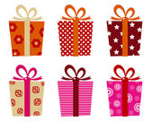 Retro gifts set isolated on white — Stock Vector
