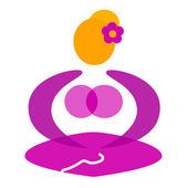 健康女性坐在瑜伽姿势符号 — 图库矢量图片