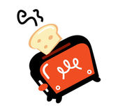 Cartoon retro toaster isolated on white — Stock Vector