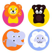 Animal buttons set isolated on white — Stock Vector