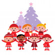 Royalty-Free Stock Vector Image: Cute multicultural caroling Children, christmas Tree