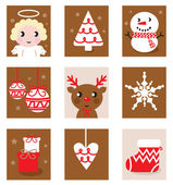 Christmas characters & accessories, icon & elements — Stock Vector