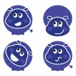 Cute wild hippo set in various poses — Stock Vector #8050978