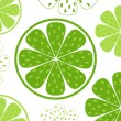 Lime slices pattern or background - green & white — Stock Vector