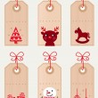 Cute christmas retro tags collection — Stock Vector #8051019