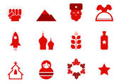 Communism and russia icons set — Stock Vector
