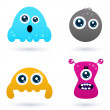 Funny curious monster set isolated on white — Stock Vector