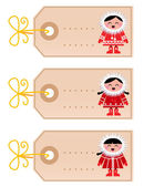 Christmas blank tags with eskimo kids isolated on white — Stock Vector