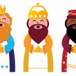 Royalty-Free Stock Vector Image: Three wise men bringing gifts to Christ