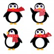 Christmas retro Penguin set isolated on white ( red ) — Stock Vector