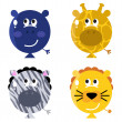 Cute animal balloon faces set isolated on white — Stock Vector