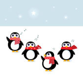 Cute christmas singing Penguins ( vector, cartoon ) — Stockvektor