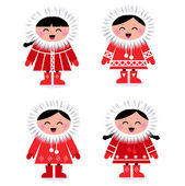 Cute stylized eskimo collection isolated on white — Stock Vector