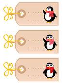 Cute christmas Penguin tags isolated on white ( retro ) — 图库矢量图片